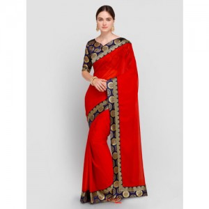 Saree mall Red & Navy Blue Poly Georgette Solid Saree
