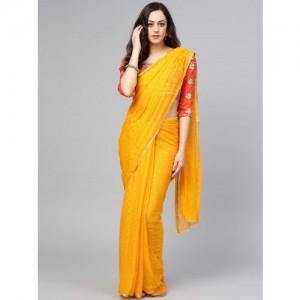 Saree mall Yellow Embellished Saree