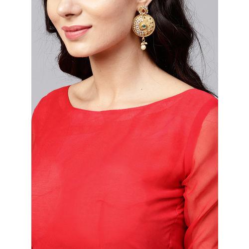 Saree mall Navy Blue & Red Printed Saree