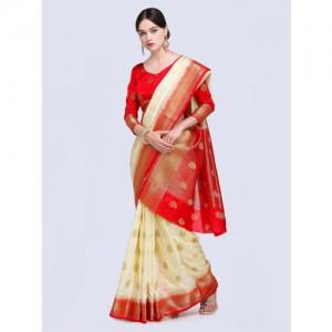 Saree mall Cream-Coloured & Red Silk Blend Woven Design Kanjeevaram Saree