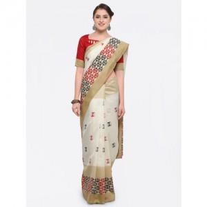 Saree mall Cream Bhagalpuri Silk Geometric Printed Casual Saree with Unstitched Blouse