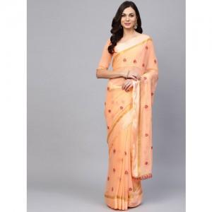 Saree mall Peach-Coloured Embroidered Saree
