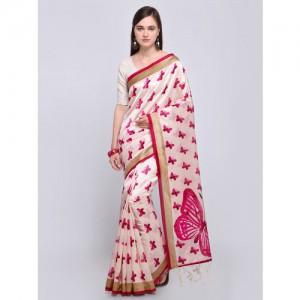 Saree mall Off-White & Pink Art Silk Printed Bhagalpuri Saree