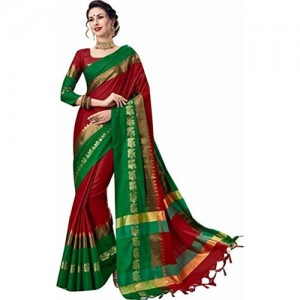 Florence Red Poly Silk Plain Saree With Blouse(FL-PT-P01)