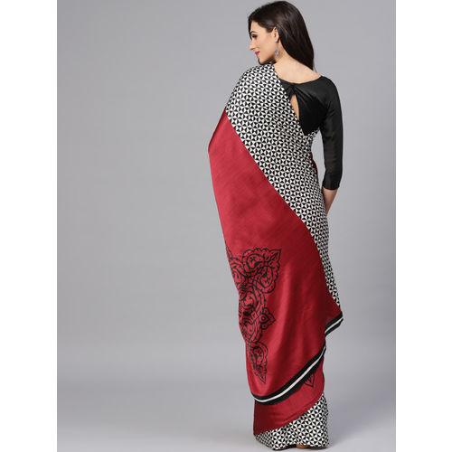 Saree mall Maroon & Black Half & Half Printed Saree