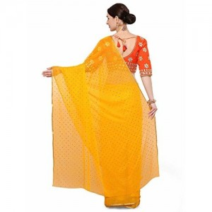 SAREE MALL Women'S Chiffon Saree With Blouse Piece (Yellow_Free Size )