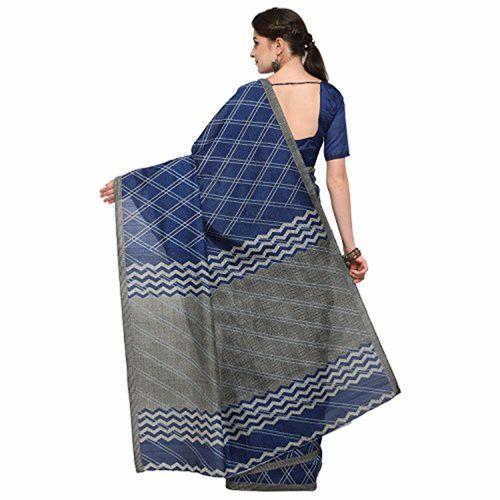 SAREE MALL Women'S Bhagalpuri Silk Saree With Blouse Piece (Blue_Free Size )