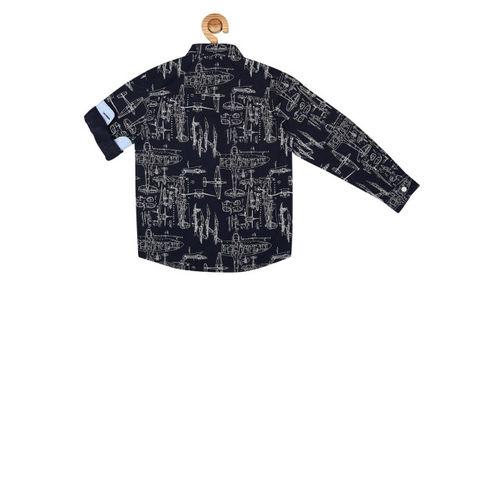 Allen Solly Junior Boys Navy Blue Regular Fit Printed Casual Shirt