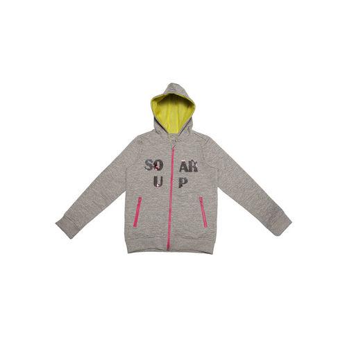 Allen Solly Junior Girls Grey Printed Hooded Sweatshirt