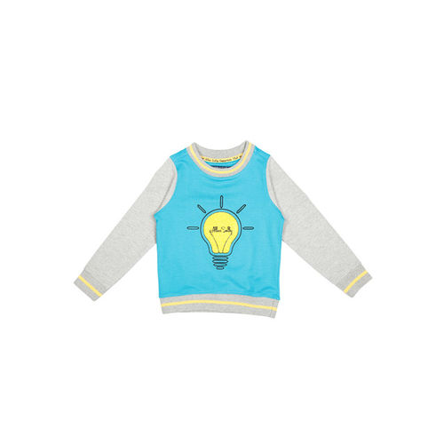 Allen Solly Junior Girls Blue & Grey Printed Sweatshirt