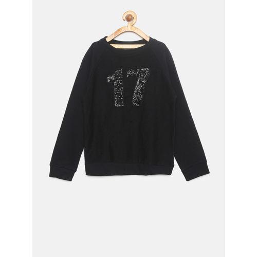 Allen Solly Junior Girls Black Embellished Sweatshirt