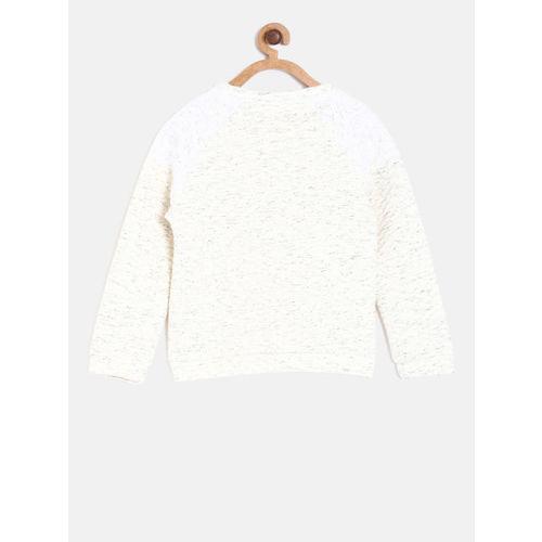 Allen Solly Junior Girls Beige Self Design Sweatshirt