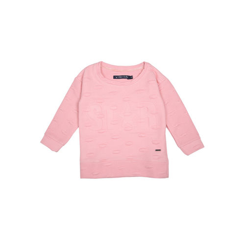 Allen Solly Junior Girls Pink Self Design Sweatshirt