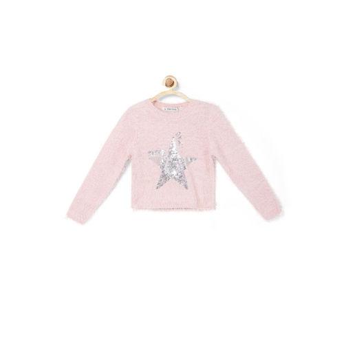 Allen Solly Junior Girls Pink Self Design Pullover