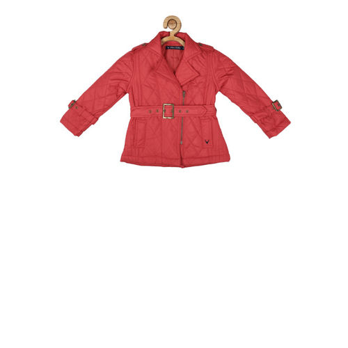 Allen Solly Junior Girls Red Solid Quilted Jacket