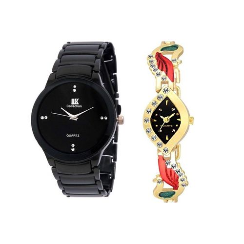 Katrodiya IIK Black With Aks Peocock Latest Designing Stylist Looking Analog Combo Cupple Watch For Men,Women