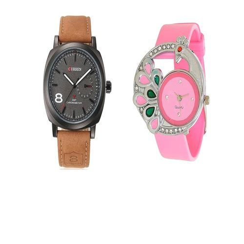 Missperfect Curren Brown and Glory pecock Pink Watches Couple For Men and Women