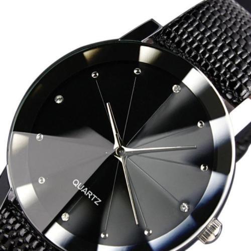 Unisex shine Faux Leather fashion Dress Quartz watch for women and Men