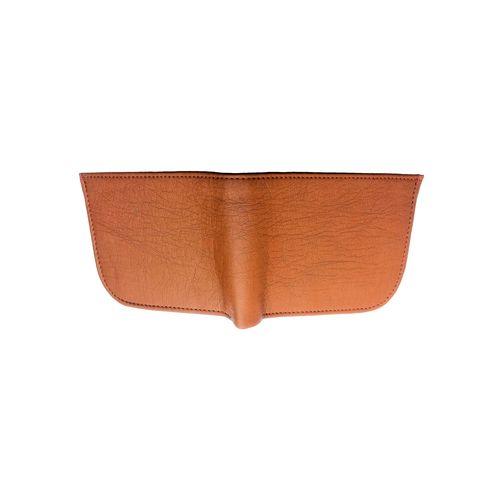 Men's Handmade Top Grain Leather Bi Fold Wallet (Tan Curve)