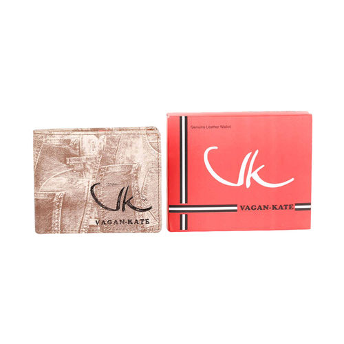 Vagan-kate denim design tan leather wallet for men (Synthetic leather/Rexine)