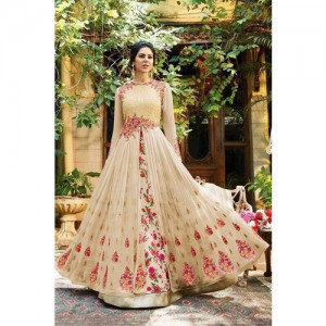Salwar Soul Beige Georgette Embroidered Long Gown