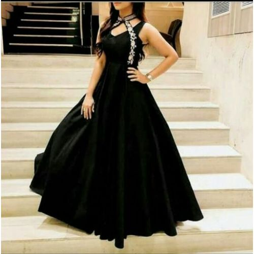 Shilpa Stylish Black Gown with Swanky Collar