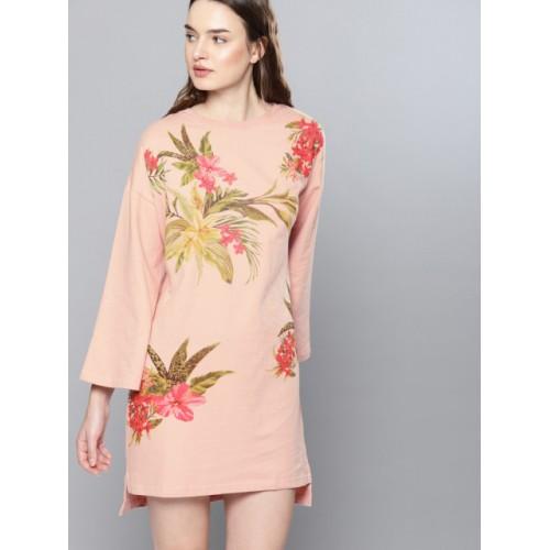 NUSH Peach-Coloured Printed T-shirt Dress
