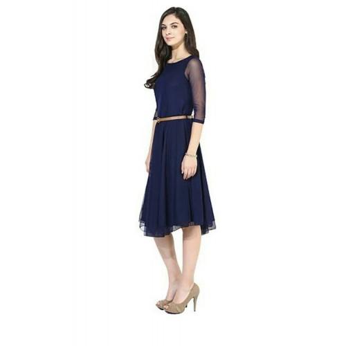 Westrobe Navy Blue Net A-line Dress With Belt