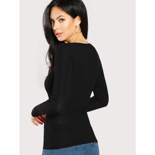 Code Yellow Women's Black Full Sleeve Henley Buttoned T-shirt