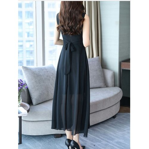 ANB-010 Westchic LARA Black V-Neck (Belt) Long Dress
