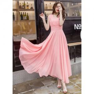 Pink Georgette V Neck Solid Maxi Dress