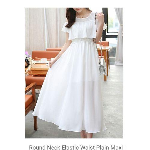 Westchic White Georgette Cold Shoulder Long Dress