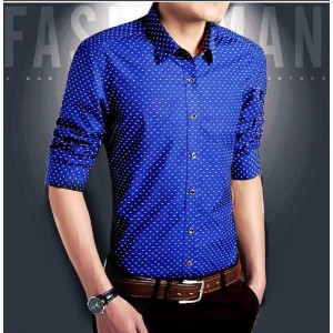 Royal Fashion Blue Cotton Regular Fit Casual Shirt