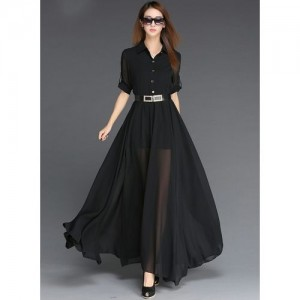 Code Yellow Black Georgette Collar with Belt Long Dress