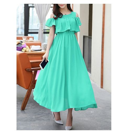 Code Yellow Women's Green Cold Shoulder Long Maxi Dress
