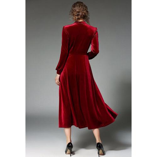 Code Yellow Women's Maroon Buttoned Velvet Winter Dress