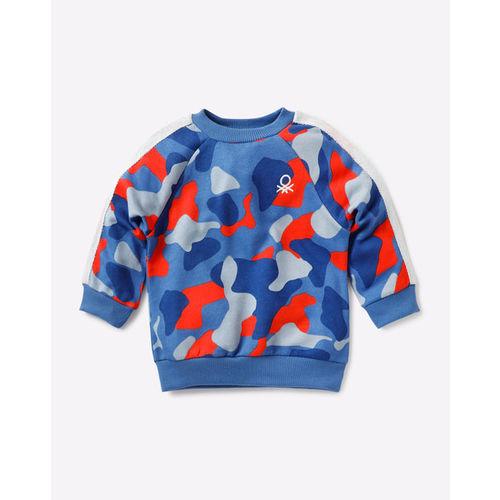 UNITED COLORS OF BENETTON Camouflage Print Sweatshirt with Raglan Sleeves