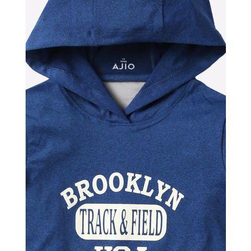 AJIO Colourblock Hoodie with Typographic Print