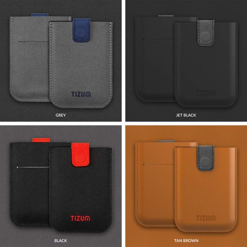 Tizum Z27 Ultra Slim Anti Theft RFID Credit Card Wallet case with Smart Pocket (Grey) (Synthetic leather/Rexine)
