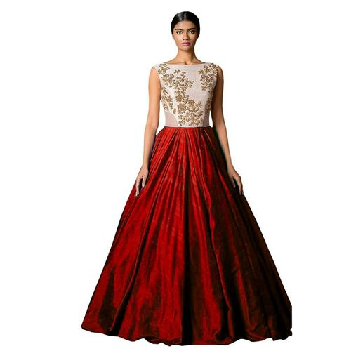Florence Maroon Silk Embroidered Partywear Gown