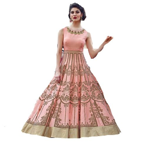 Fiona Pink color joya silk embroidered gown kd-1127