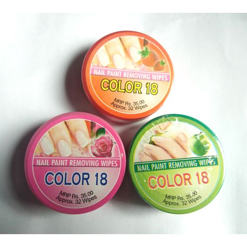 color COLOR 18 Nail Paint Remover Pads - Set Of 3