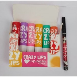7 heaven 7 Heaven's Crazy Lips 6 Lip Balm Natural Flavour (6 G ) With Sketch Pen Eyeliner