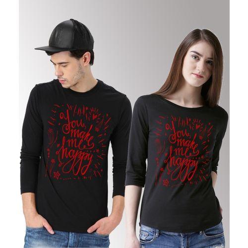 DUO COUPLE Printed Men & Women Round Neck Black T-Shirt
