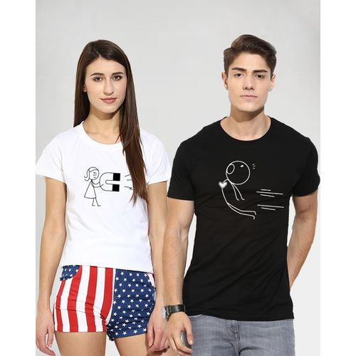 Young Trendz Graphic Print Men & Women Round Neck Multicolor T-Shirt(Pack of 2)
