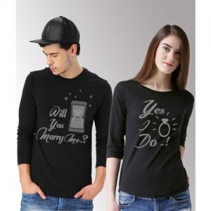 DUO COUPLE Graphic Print Men & Women Round Neck Black T-Shirt(Pack of 2)