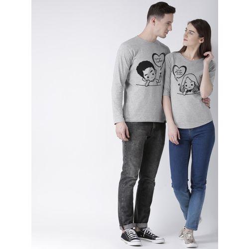 DUO COUPLE Self Design Men & Women Round Neck Grey T-Shirt