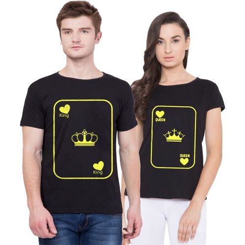 American-Elm Printed Men & Women Round Neck Black T-Shirt