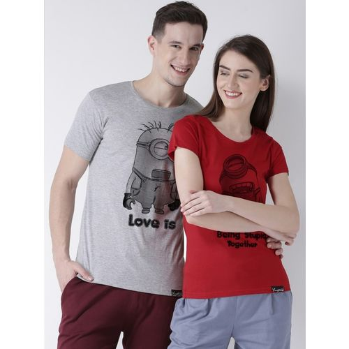 DUO COUPLE Printed Men & Women Round Neck Multicolor T-Shirt