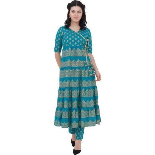 SRIYUV Women Floral Print Anarkali Kurta(Blue)